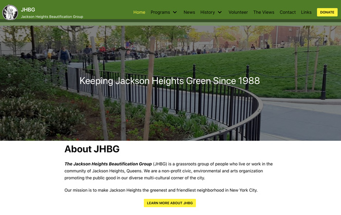 screenshot of home page for Jackson heights beautification group