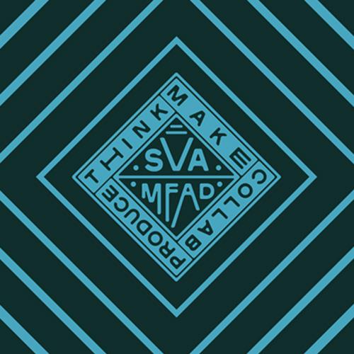SVA logo think make collaborate text on dark aqua and aqua blue diamond pattern
